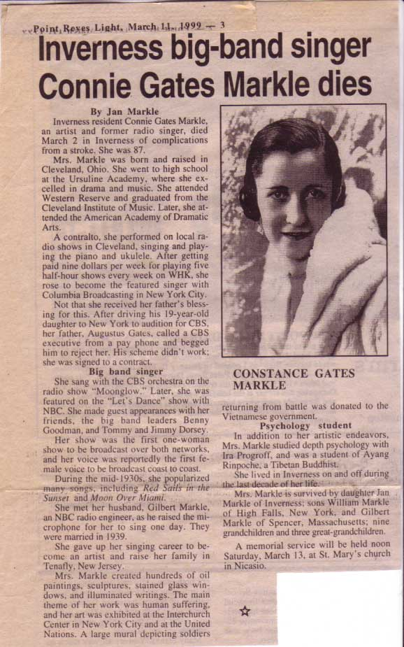 Obituary Constance Gates Markle, Point Reyes Light 1999