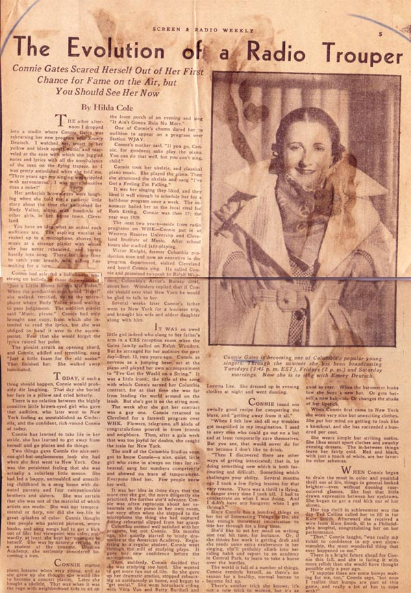 Connie Gates 1935 news article